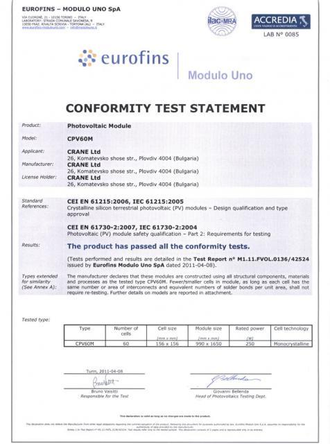 Crane conformity test statement