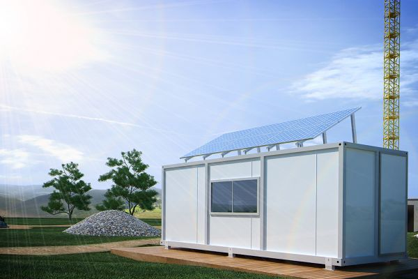 Photovoltaic system for construction container with 4 modules